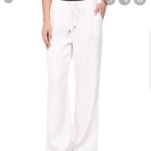 Vince Camuto White Linen Drawstring Pants S